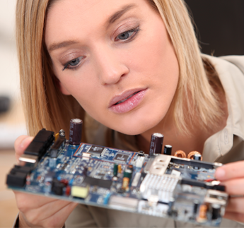Woman Taking Apart a Comuter